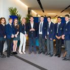 Students from Sherrardswood School with Lord Coe