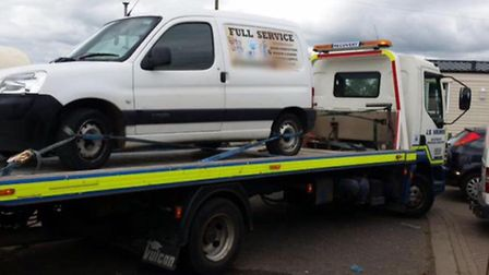 A stolen car was recovered in the Murrow area. Picture: FACEBOOK WISBECH POLICING.