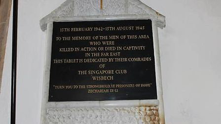 VJ Day Memorial in St Peter and St Paul Church, Wisbech.