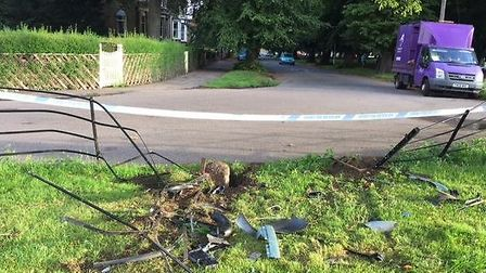 The smashed railings in Wisbech Park.