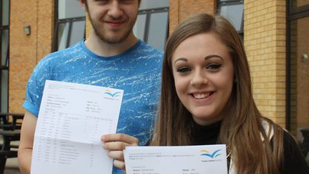 Thomas Clarkson Academy students Stacey Pitcher and Euan Wedge celebrate their A-level results.
