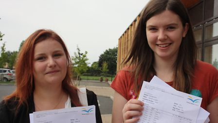 Hannah Loughlin and Gabriele Radzeviciute who are both heading to Bangor University after gaining th