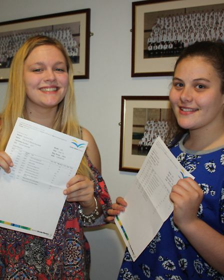 Elle Bishop-Saunders and Jamie-Lead Taylor are happy after achieving the grades to head to the Unive