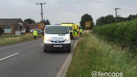 The aftermath of the collision on Sutton Road, Wisbech. Picture: FENCOPS.