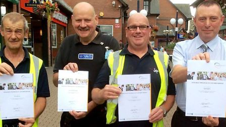 Peter Balls, Roger Vanhinsbergh, Keith Cook and Kevin Smith from the Horsefair Shopping Centre proud