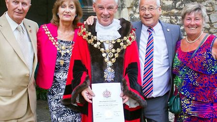 Peter Dennis, Judy Hodgson Lady Mayoress, Cllr David Hodgson Mayor, Brian Kierman Vice Chairman and