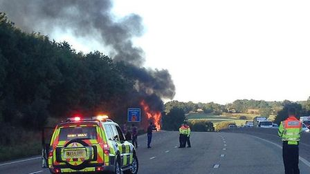Car carrier on fire on the M25 between junction 24 and 25. Credit to @MPSSpecials