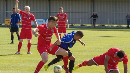 Action from Wisbech Town v Leicester Nirvana. Picture: BARRY GIDDINGS.