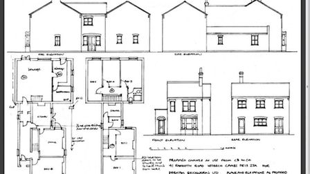 41 Ramnoth Road, Wisbech, proposed elevations as owners try to regularise it as six bed house of mul