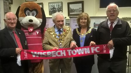 Wisbech Town FC historian Gordon Smith, Fenny the dog and the Mayor of Wisbech, David Hodgson launch