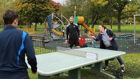 Cllr Michelle Tanfield enjoying a game of outdoor table tennis. Soon afterwards the first of two in