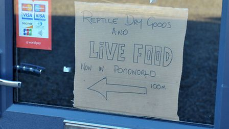 A sign in the window of Fangtasia Reptile Emporium, which is now closed.