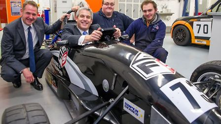 Steve Barclay MP tries motorsport with two current students.
