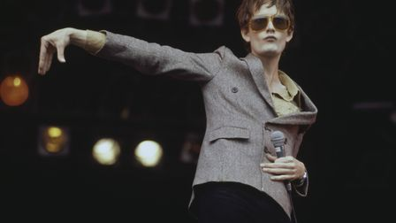 Jarvis Cocker, lead singer of English rock band Pulp, performs live on the NME stage at the Glastonb