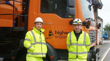 Highways England East region gritter drivers Ben Jackson and Gareth Ray