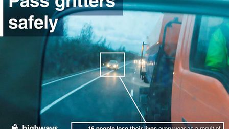 Highways England's hard shoulder gritter undertaking campaign is warning drivers not to use the hard
