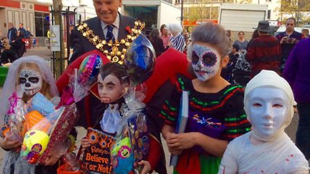 Halloween fancy dress competition winners with Mayor of Wisbech, cllr David Hodgson