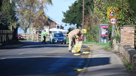 Emergency services sealed off the area, after a chemical spill on Thursday morning near Welney. Pict