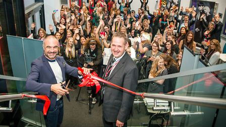 Andrew Barton and Principal David Pomfret officially open The Salon at CWA Wisbech