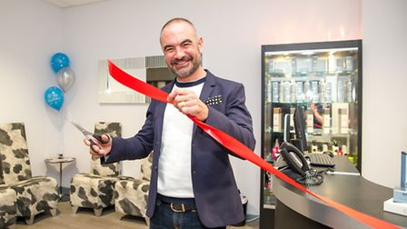 Andrew Barton cuts the ribbon at The Salon, CWA Wisbech