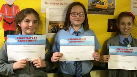 Emneth Primary School pupils with their EAAA certificates