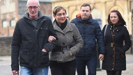 Leaving King's Lynn County Court are the family of Nonita Karajevaite. Pictured (R) is sister Dzenit