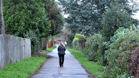 Passageway between Lynn Road and Trafford Road. Picture: Steve Williams.