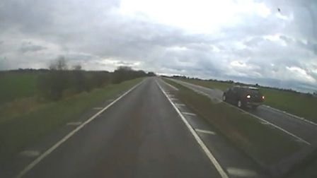 A vehicle videoed overtaking on the A17