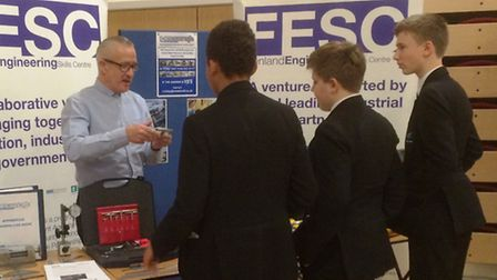 Thomas Clarkson Academy students talk to potential employers at the school's annual careers fair.
