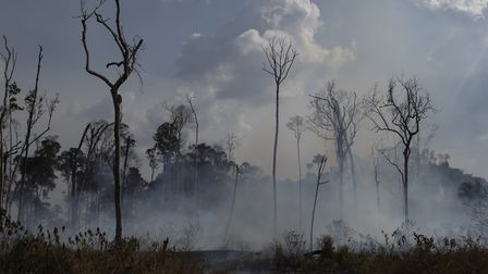 An area smolders in the Alvorada da Amazonia region in Novo Progresso, Para state, Brazil. (AP Photo