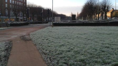Grass by The Campus in Welwyn Garden City covered in frost