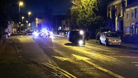Over turned car Wisbech