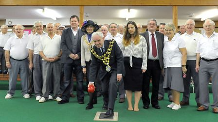 Mayor or Wisbech David Hodgson trying his hand at bowls. Picture: Steve Williams.
