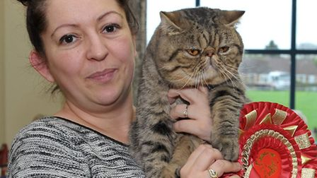 15th Exotic Cat Show championships held at Tydd St Giles Community Centre. Wisbech. Laura Palmer wit