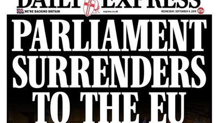 Front cover of the Daily Express. Photograph: Twitter.