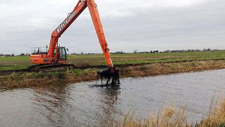 The Environment Agency is removing accumulated silts and sediments from theOld Bedford River at Sa