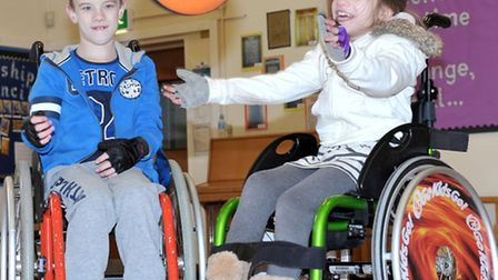 Go Kids Go wheelchair event at St Peters Junior School, Wisbech. Lewis and Sophie Clarke. Picture: S