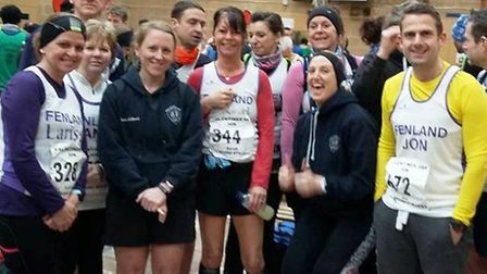 Fenland Running Club members after the Stamford St Valentine's 30k run.