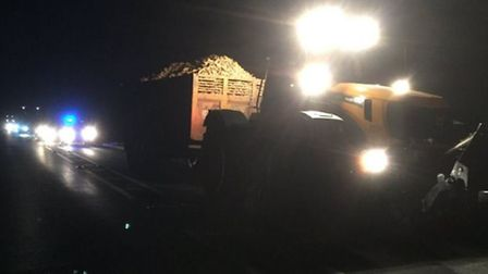 A yellow JCB tractor broke down on the A47 last night, causing a carriageway to be blocked.