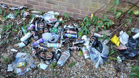 Wellington Terrace, Wisbech, Rubish, blocked drains, drinking area, Picture: Steve Williams.