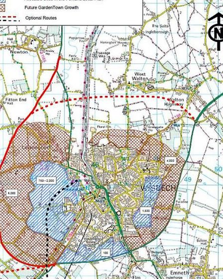 Blue shows where the current Local Plan shows new housing; red indicates where the extra 10,000 home