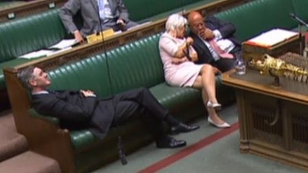 Leader of the House of Commons Jacob Rees-Mogg reclining on his seat in the House of Commons. Photog