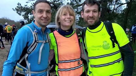 Fenland Running Club's Andre Pittock, Mel Trayford and Andy Wicklen.
