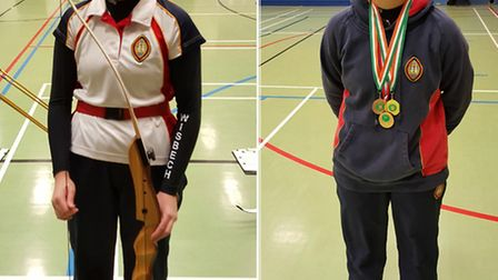 Ella Beckett at the Cambridgeshire County Championships, and with her medals.