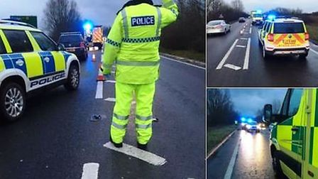 A motorcyclist suffered serious injuries to his leg after an accident on the A47 at Guyhirn on Sunda