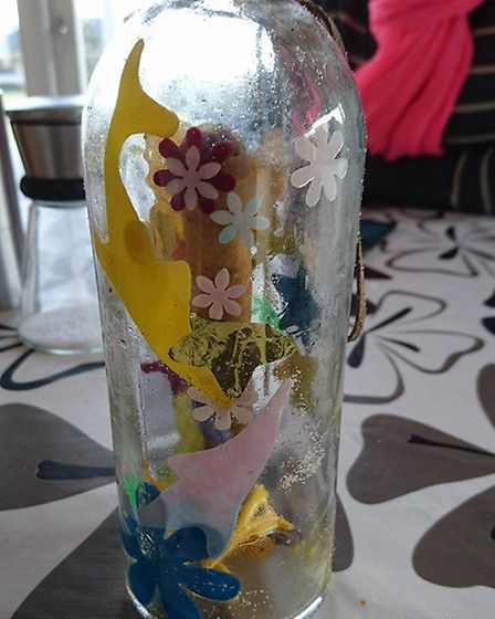 Poppy and Gracie Cornwell's message in a bottle, which washed up on the shores of west Denmark.