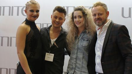 Daniel Wenn with his models and Top to Toe owner Paul Davies