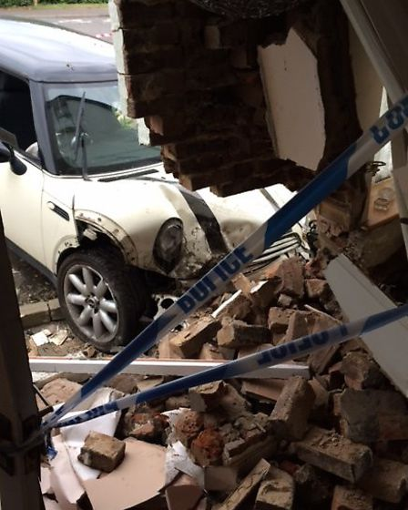 Car crashes into house in Terrington St John: Picture supplied