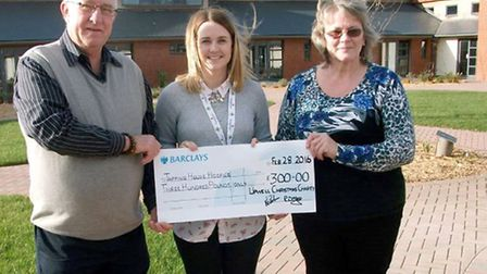 Tapping House Hospice. Left: Nigel Carter, Jessica Walker and Ros. Shorting.