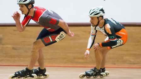Wisbech Speed Skaters' Mike McInerney (left) in action,